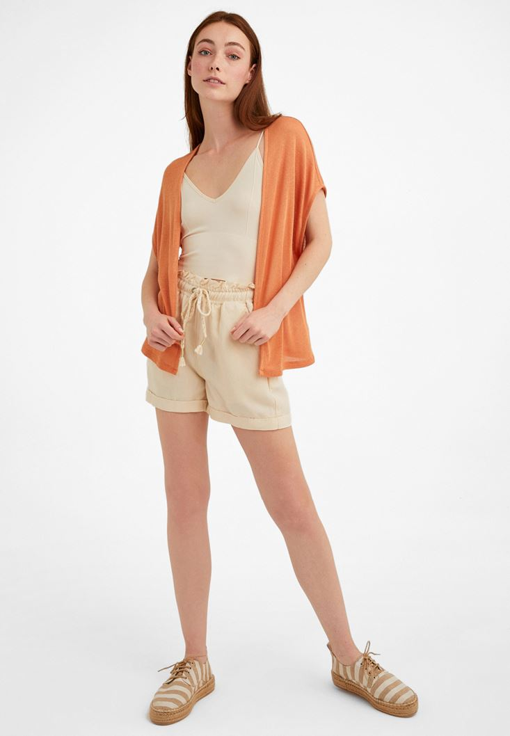 Orange Linen-Blended Cardigan