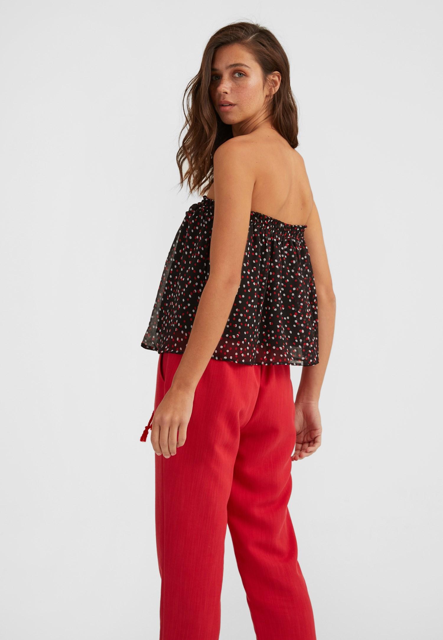 Bayan Çok Renkli Baskılı Straplez Bluz