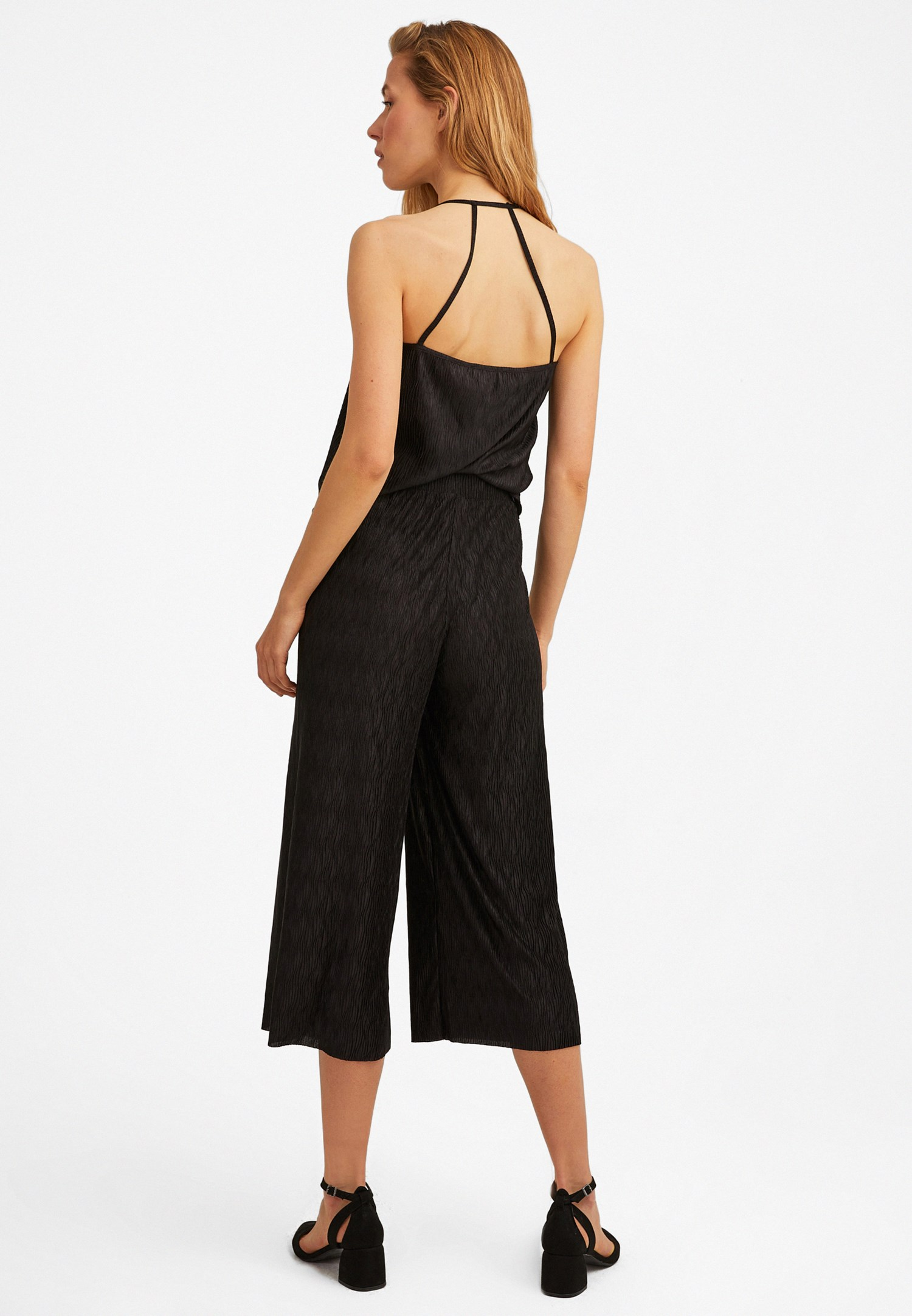 Bayan Siyah Orta Bel Bol Paça Midi Pantolon