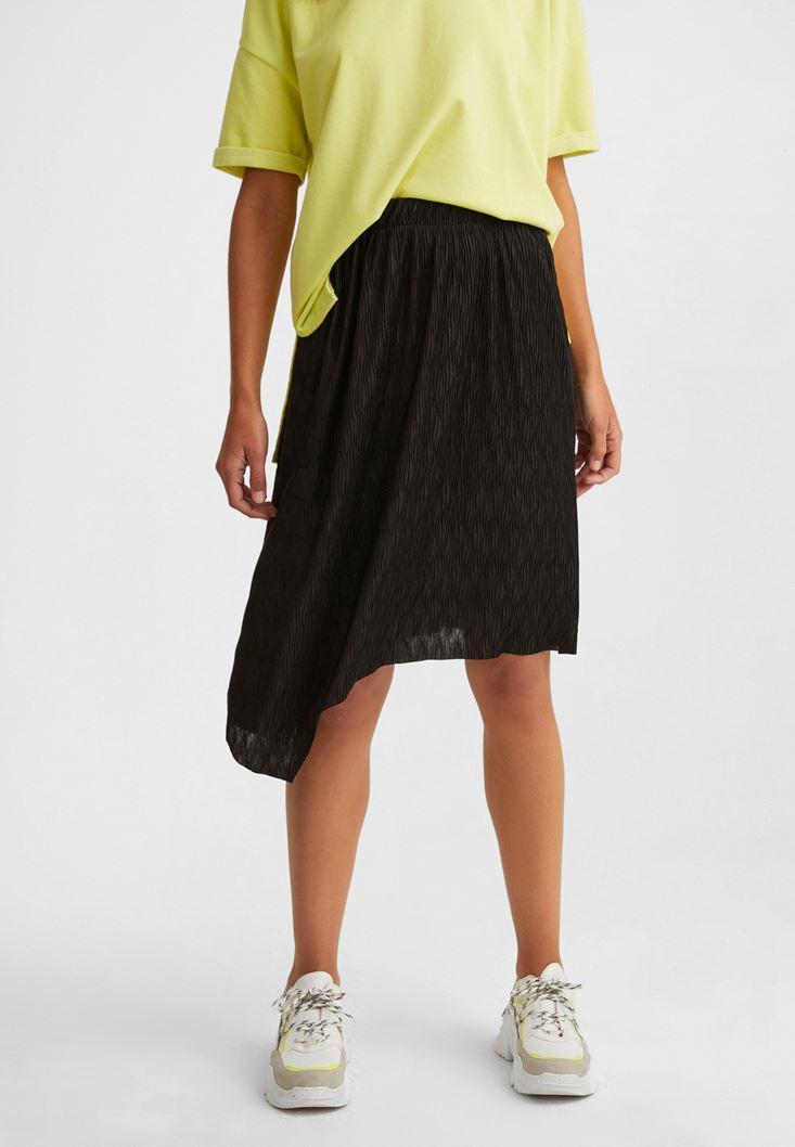 Black Asymetric Midi Skirt