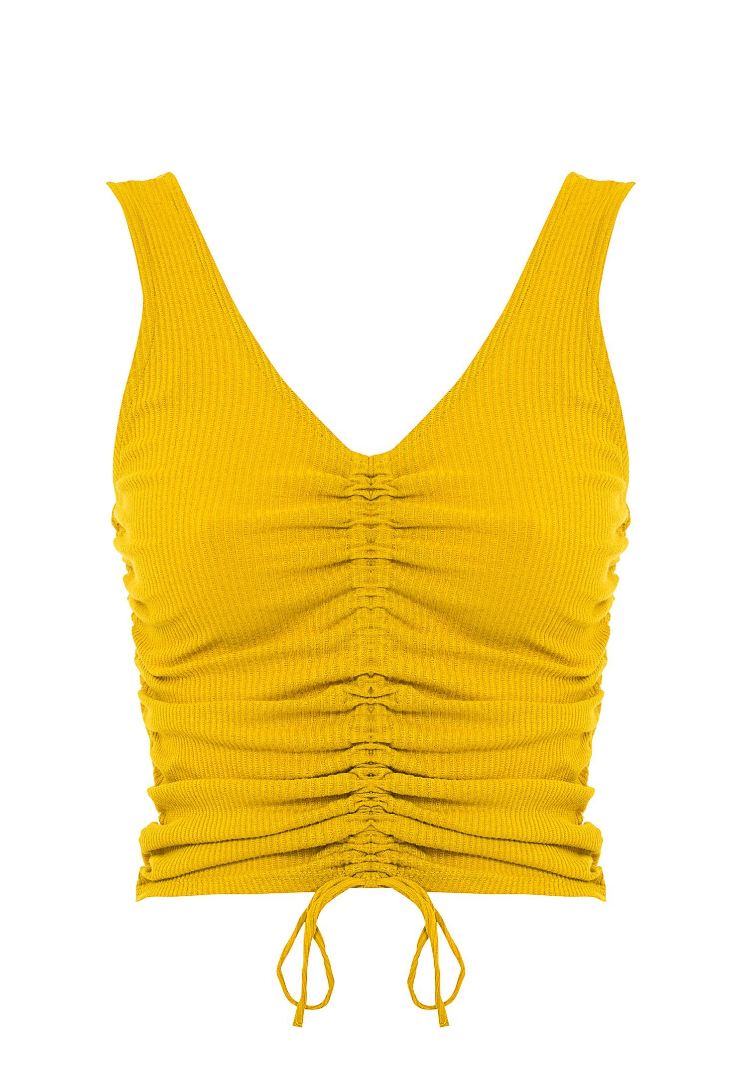 Bayan Sarı Büzgü Detaylı V Yaka Atlet