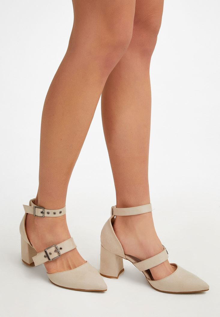 Cream High-Heel Sandals with Buckle Detail