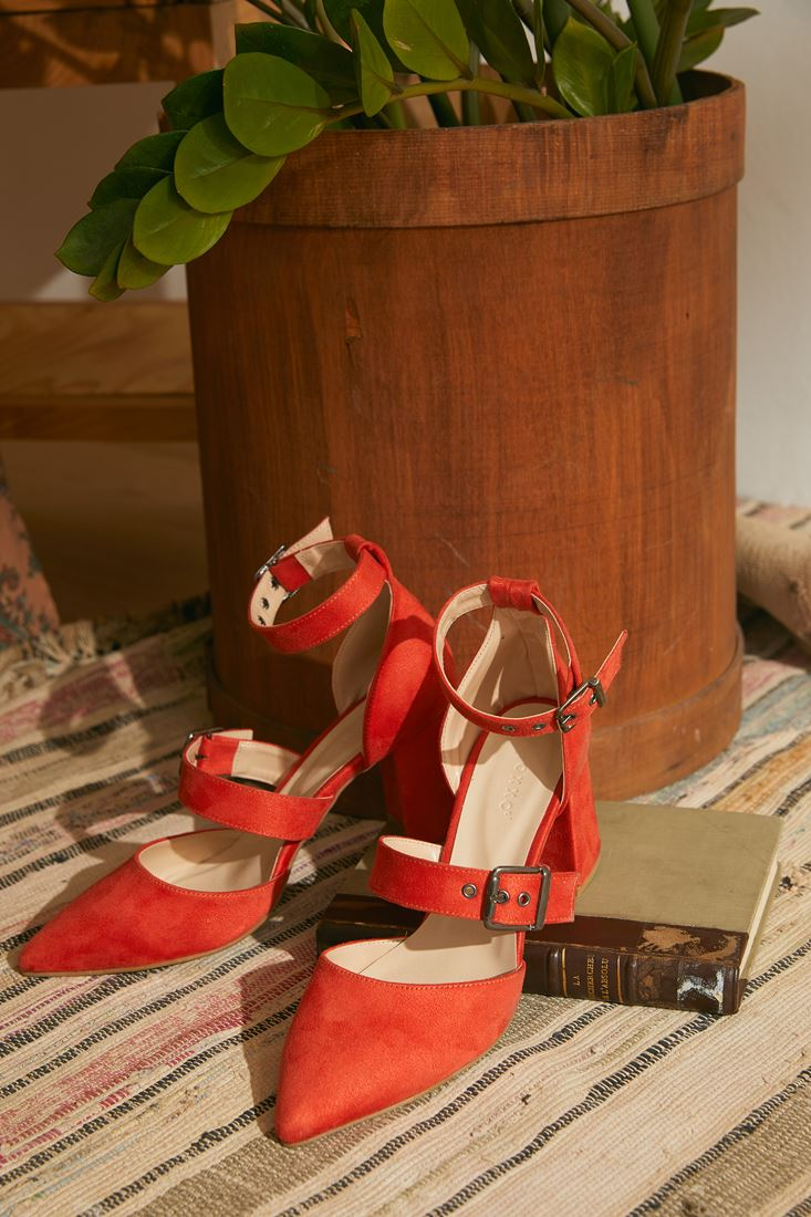 Orange High-Heel Sandals with Buckle Detail