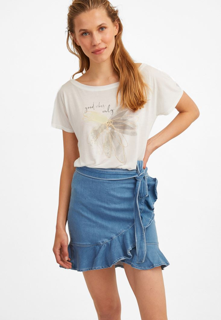Blue Denim Skirt with Ruffle Details