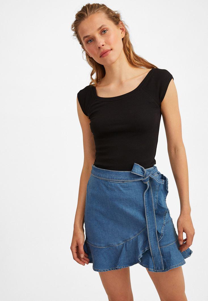 Blue Denim Skirt with Ruffle Details