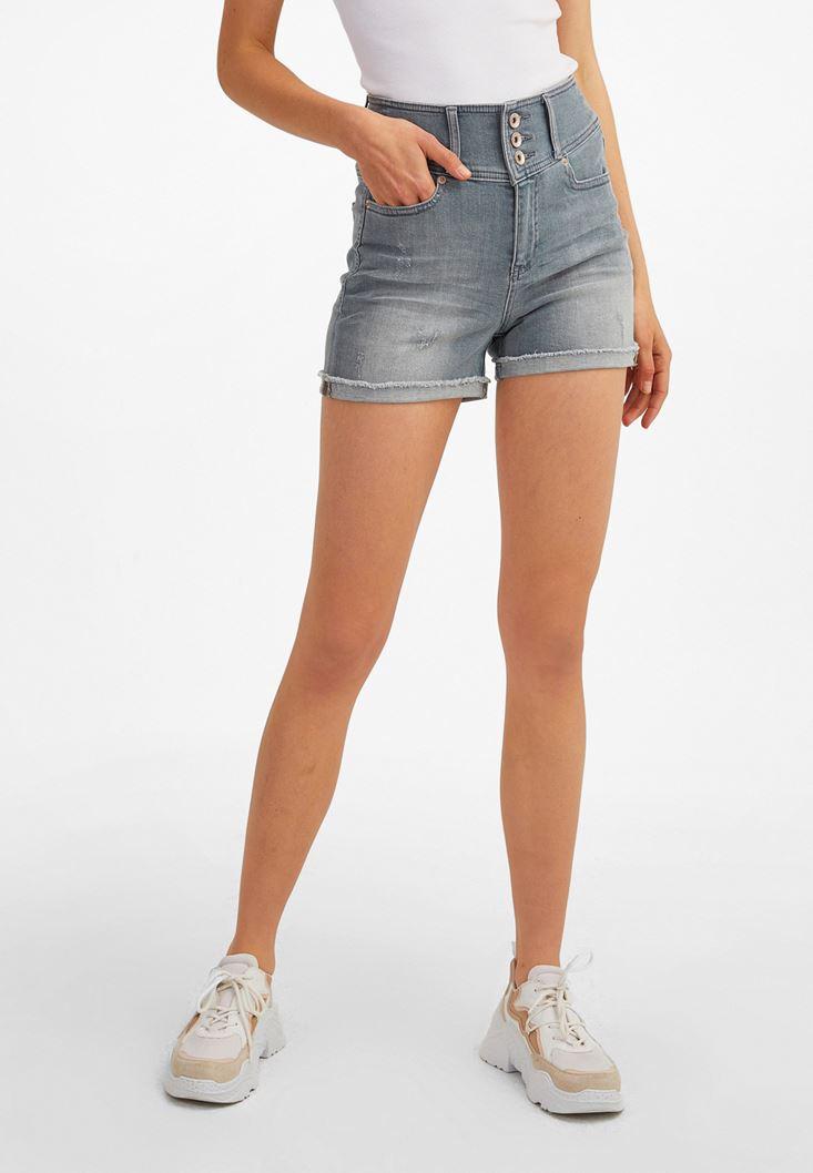 Grey Multi-Buttoned High-Rise Denim Shorts