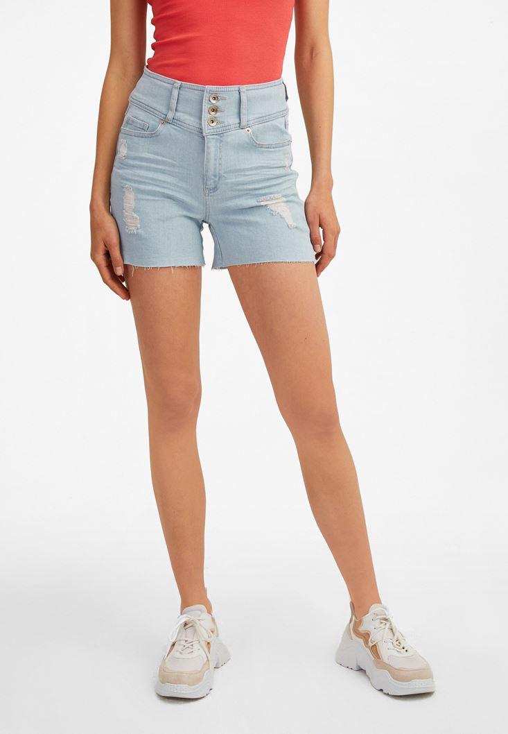 Blue Multi-Buttoned High-Rise Denim Shorts