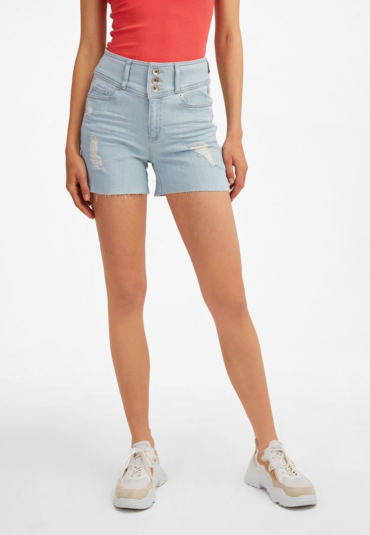 Blue Multi-Buttoned High-Rise Denim Shorts