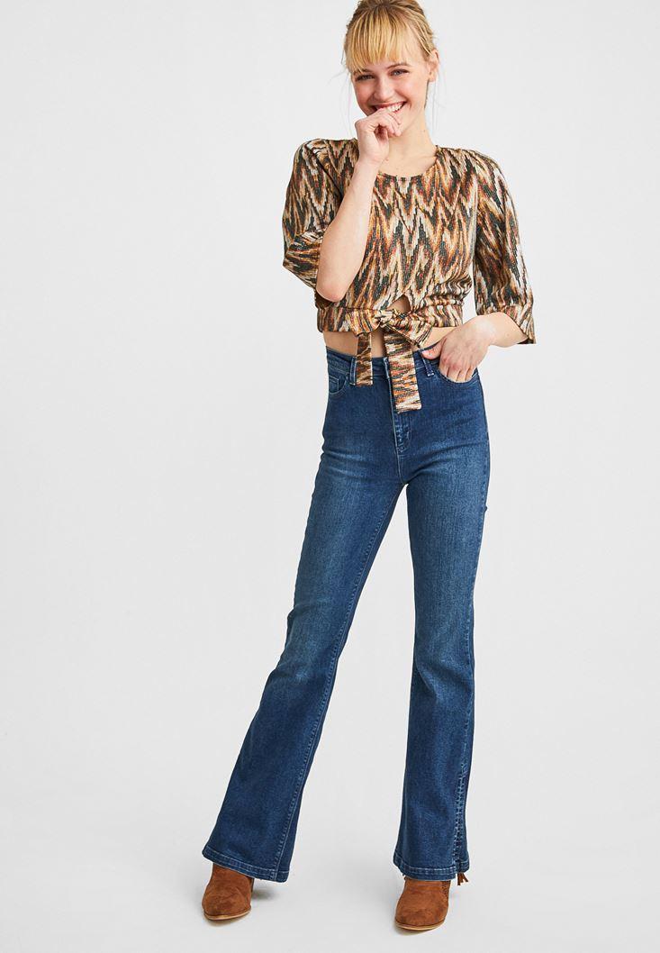 Mavi Yüksek Bel Flare Paça Detaylı Jean