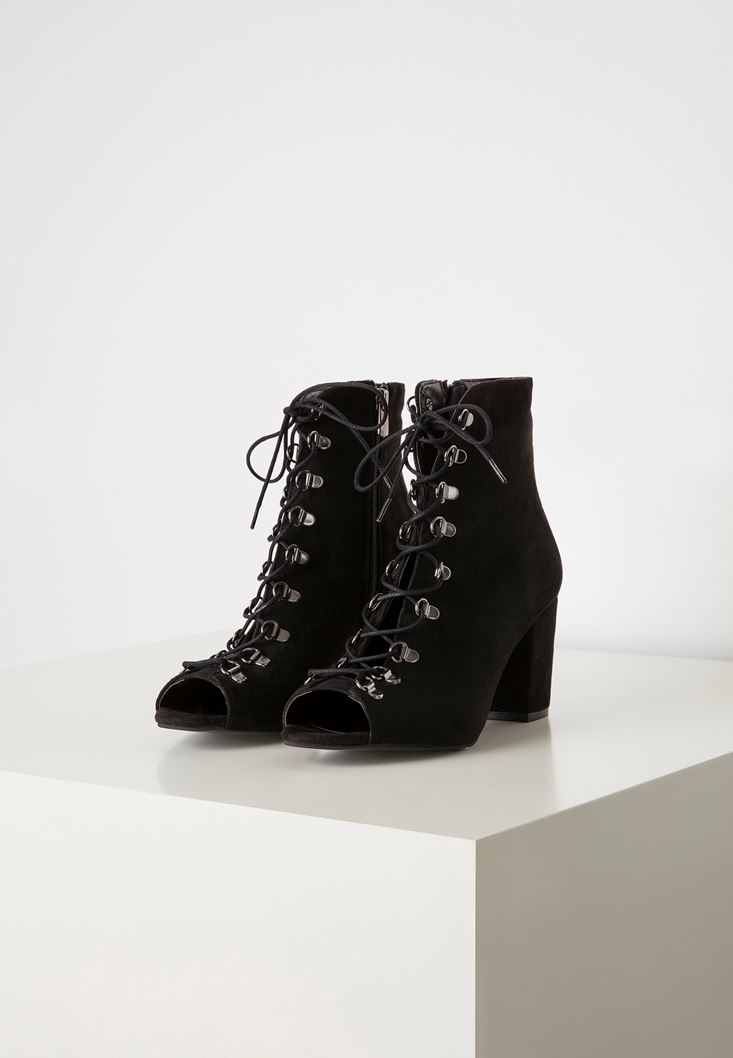 Black Lace Detailed High-Heel Boot