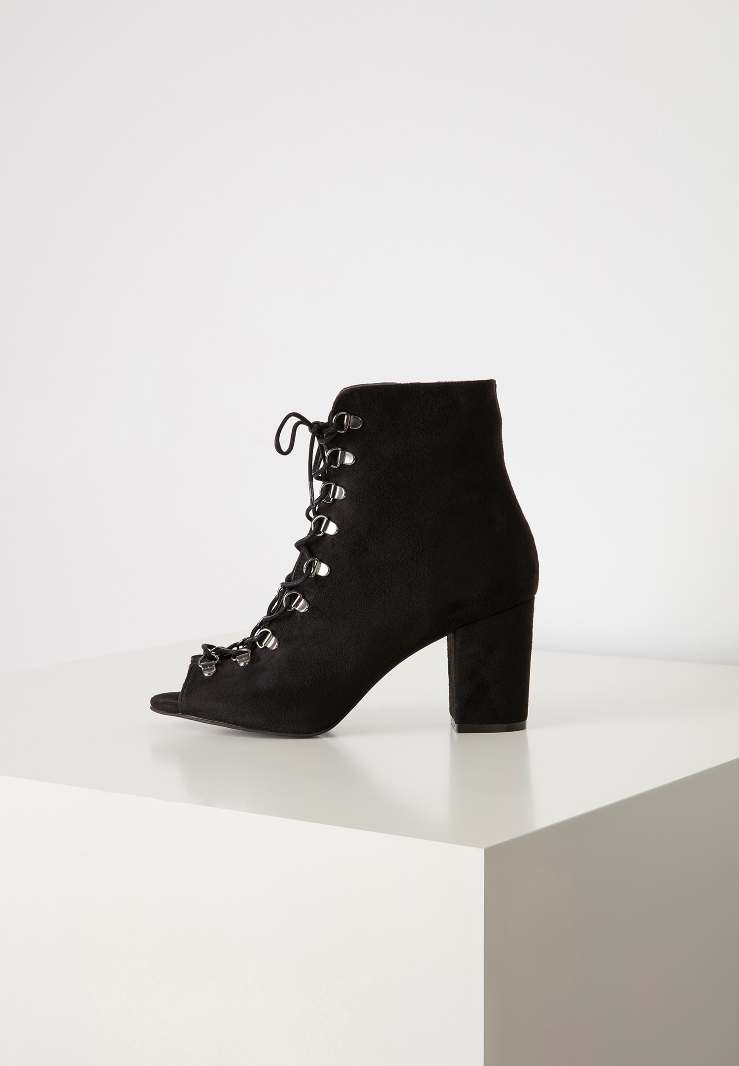 Bayan Siyah Açık Burunlu Topuklu Bot