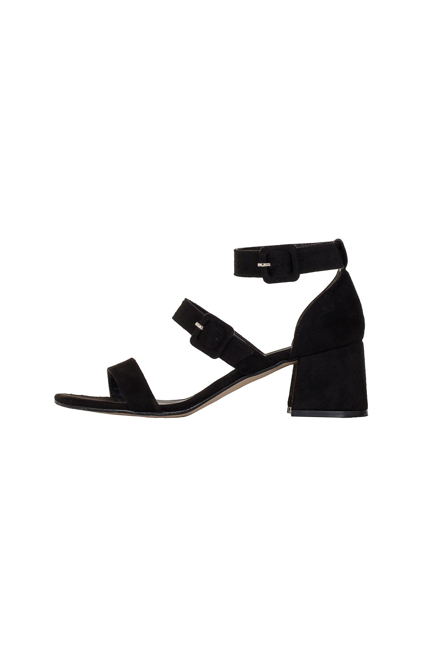 Bayan Siyah Üç Bantlı Topuklu Ayakkabı