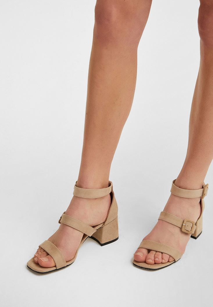 Cream Mid-Heel Sandals