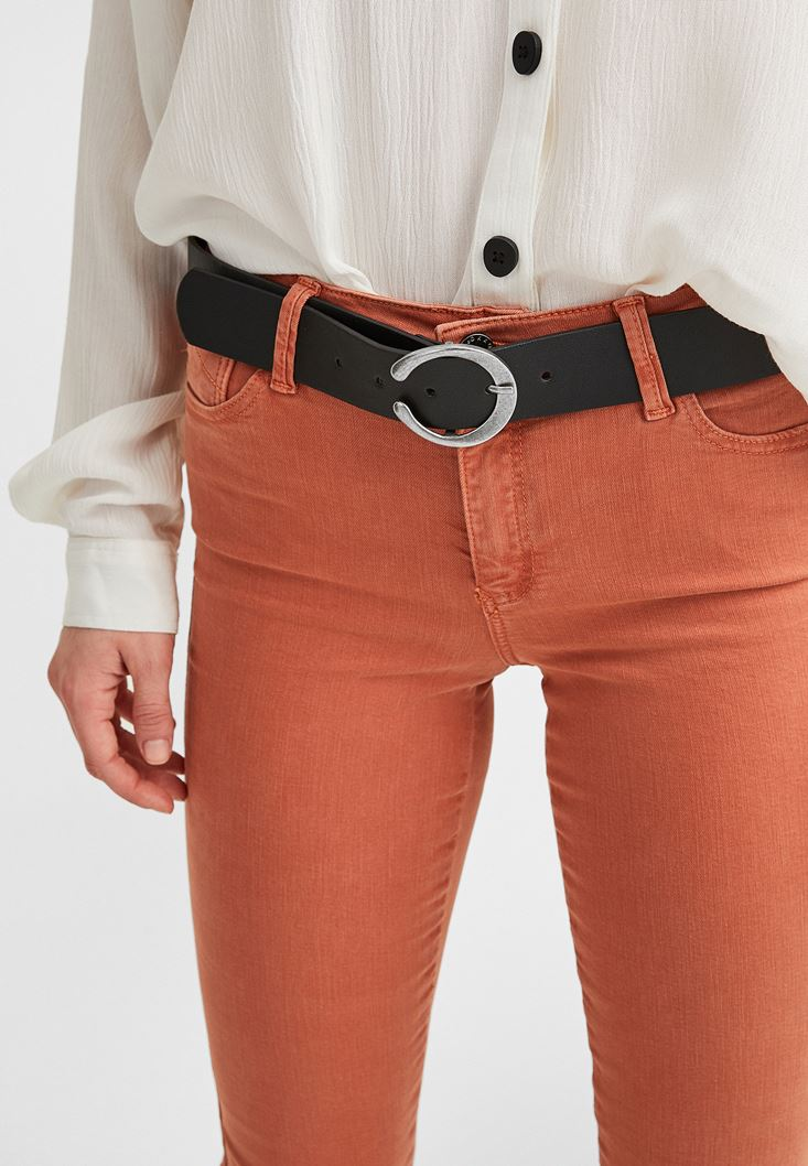 Black Belt with Round Buckle