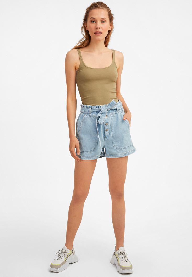 Blue Belted High-Rise Denim Shorts
