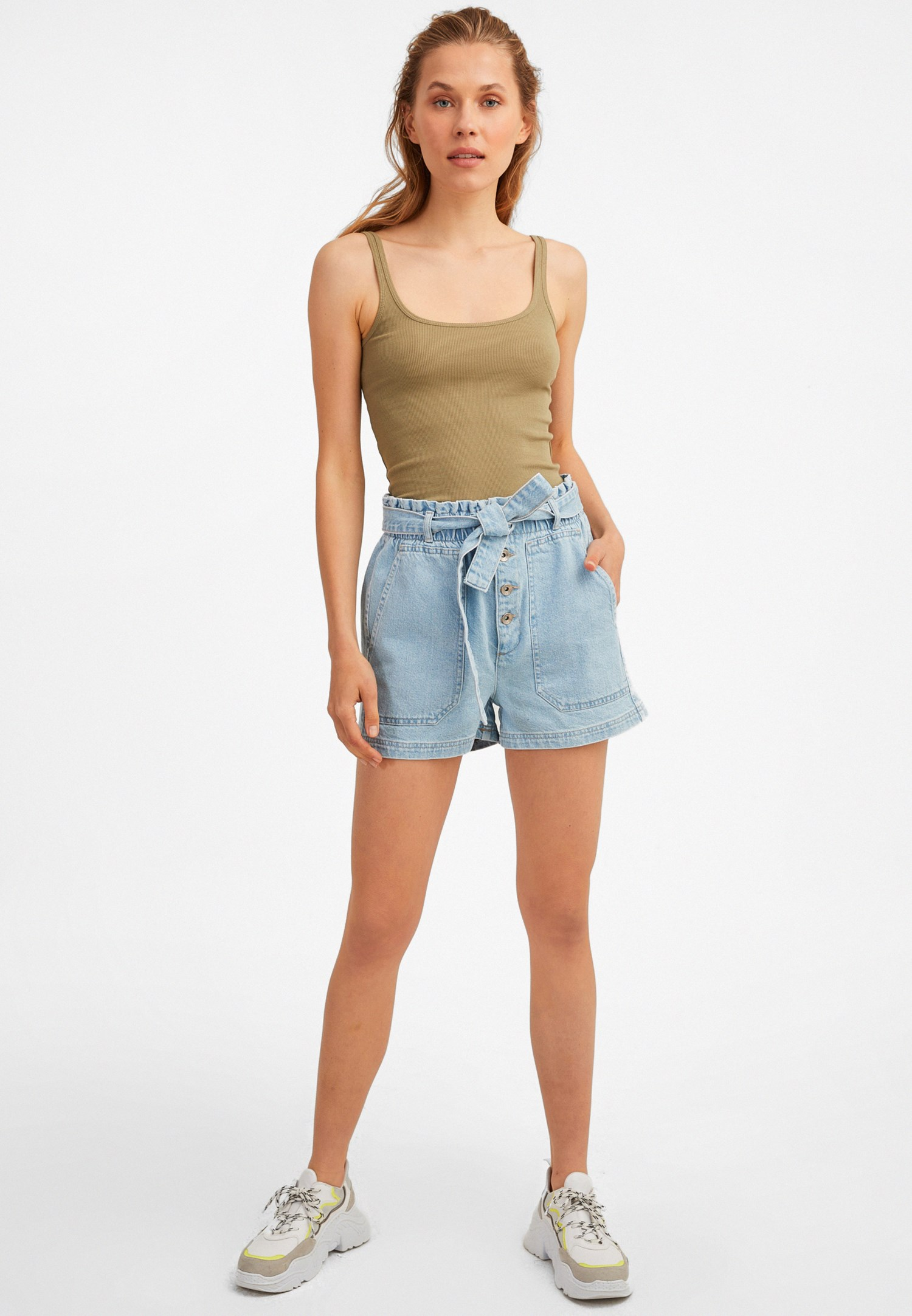 edaec6c026 Blue Belted High-Rise Denim Shorts Online Shopping | OXXOSHOP