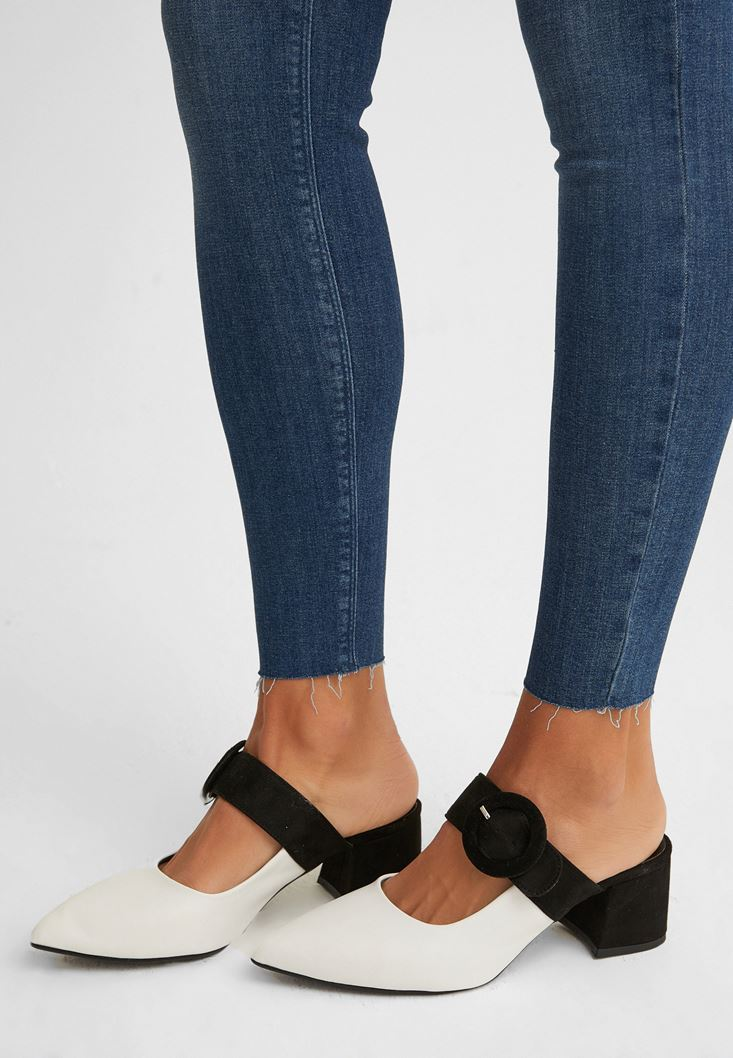 Mixed Mid-Heel Mules