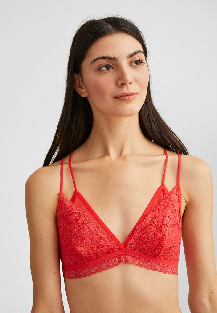 Orange Lace Bralette with Stripe Details