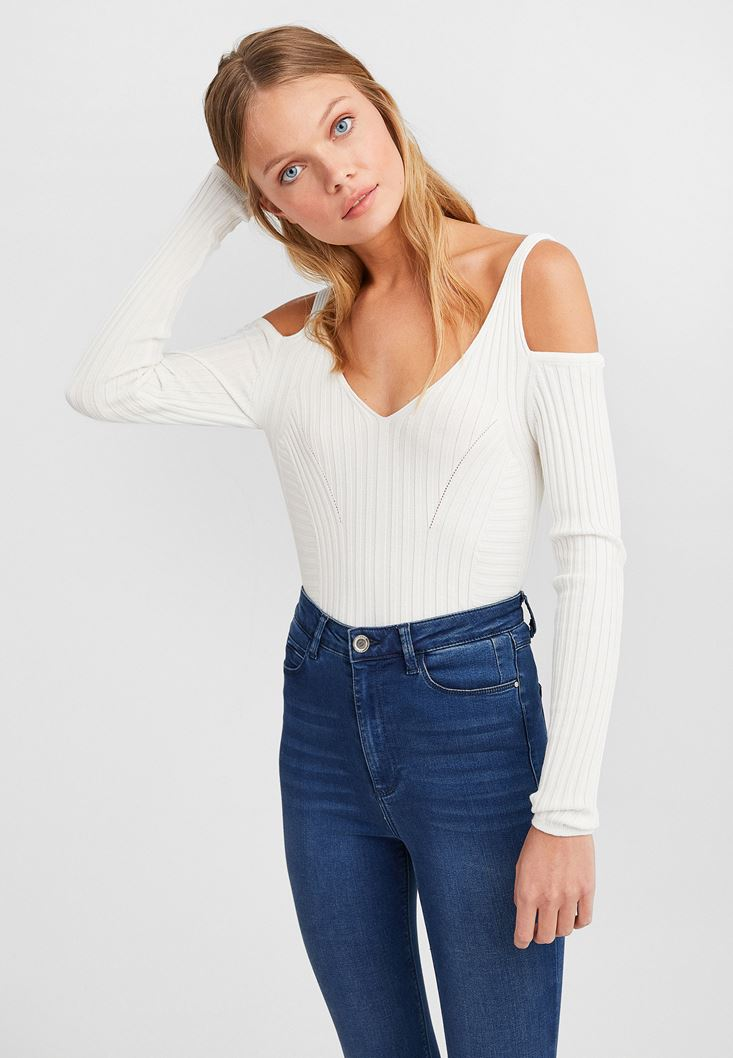 Cream Knitwear with Cut Outs