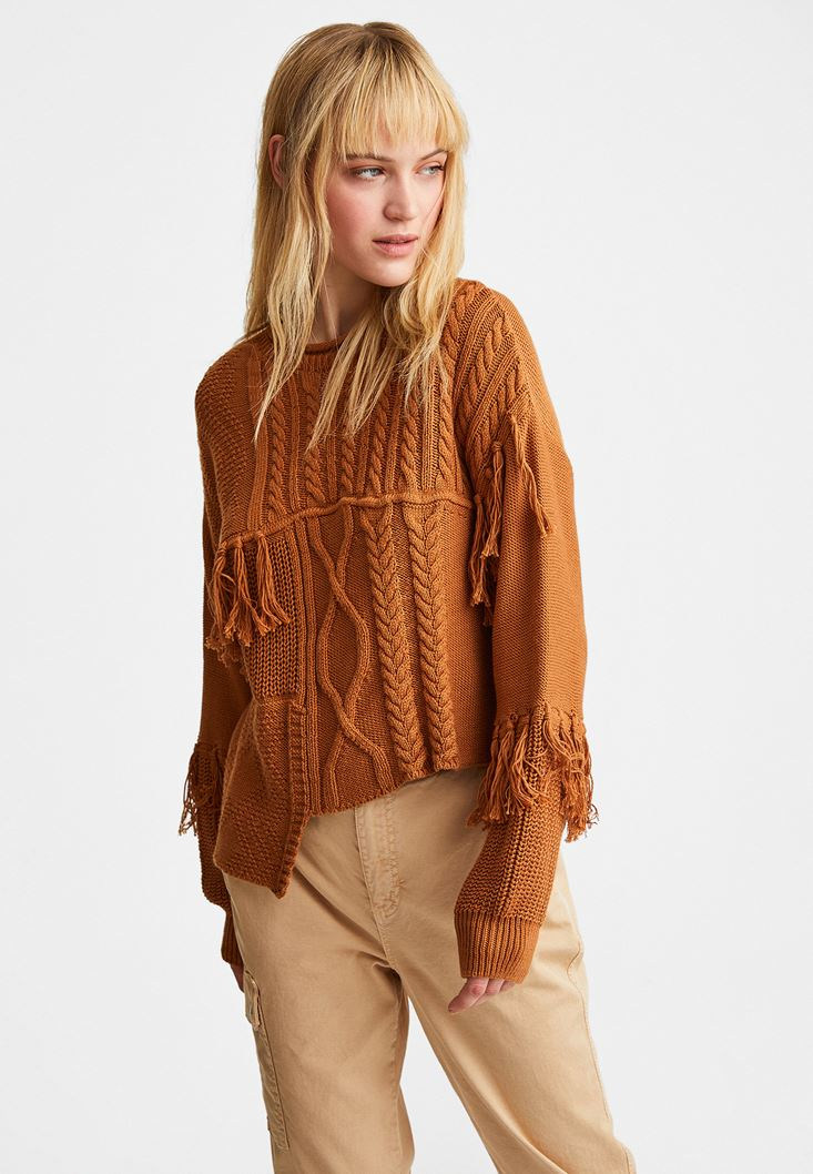 Brown Knitwear Pullover with Slit