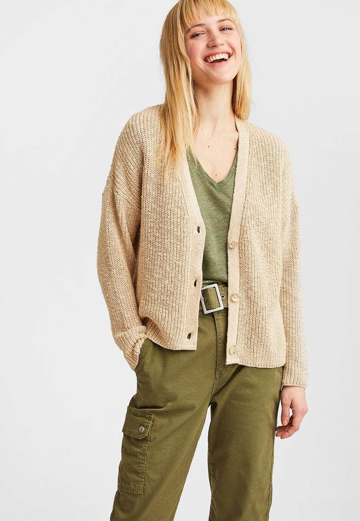 Cream V-Neck Knitted Cardigan