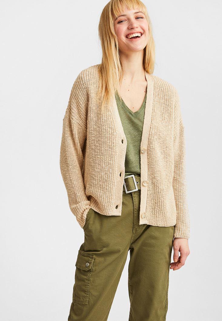Cream V-Neck Knitted Cardigan
