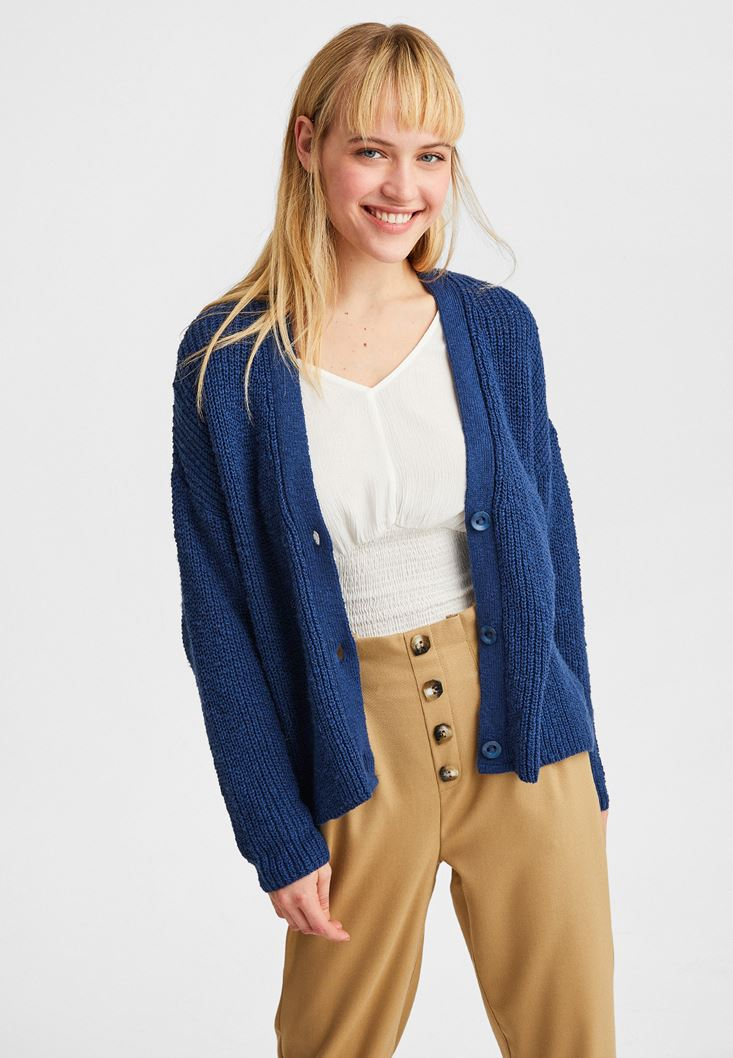 Navy V-Neck Knitted Cardigan