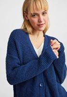 Bayan Lacivert Düğme Detaylı Örme Hırka