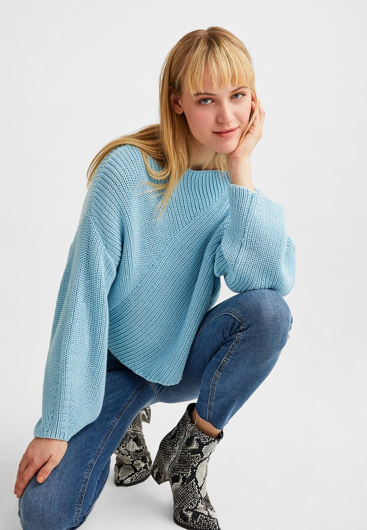 Blue Asymmetric Knitwear