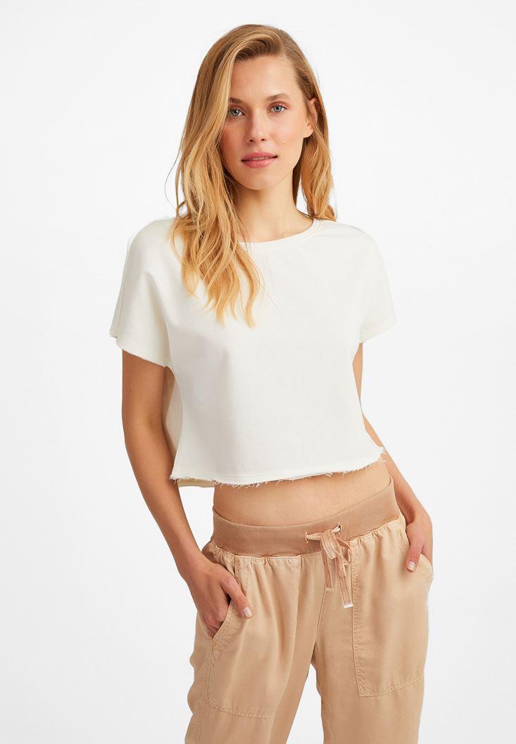 Cream Crop T-Shirt