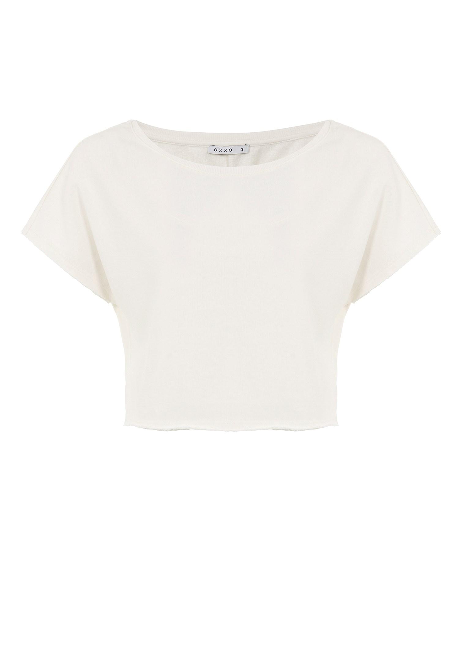 Bayan Krem Kayık Yaka Kısa Sweatshirt
