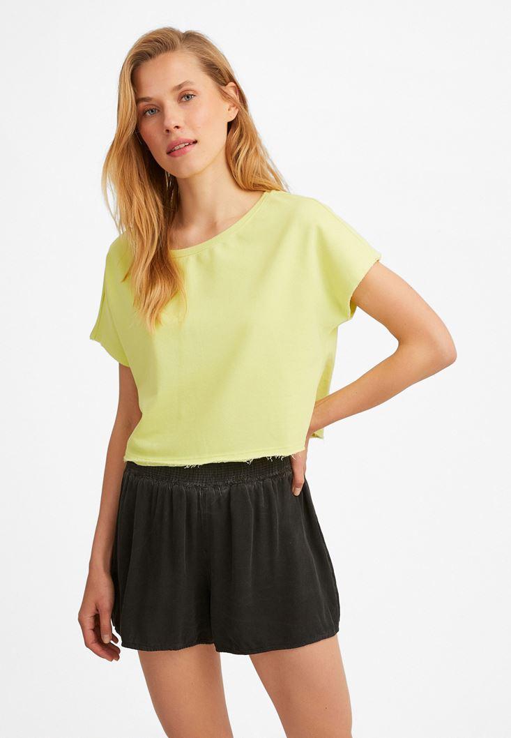 Sarı Kayık Yaka Kısa Sweatshirt