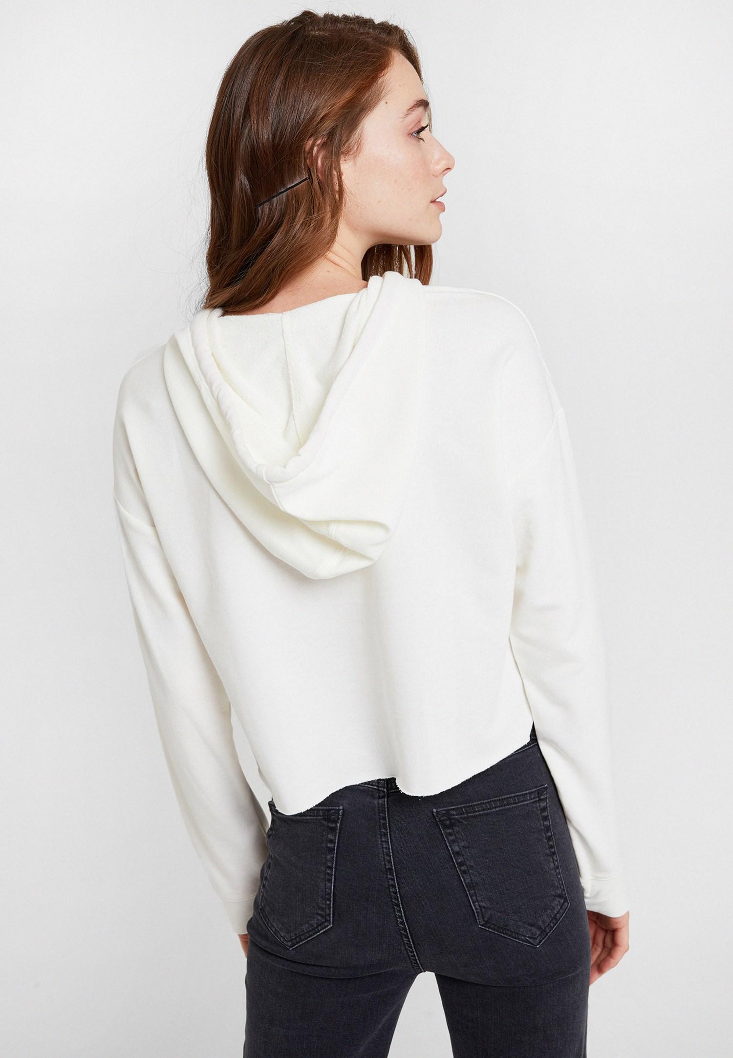 Bayan Krem Kapüşonlu Kısa Sweatshirt