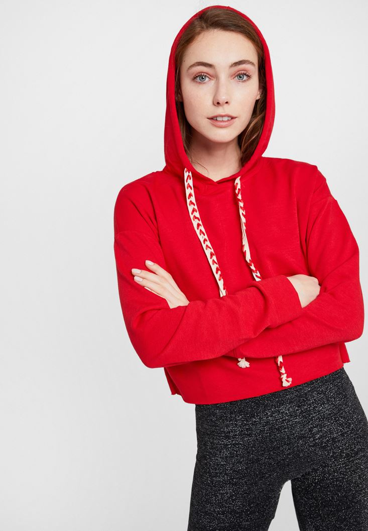 Red Crop Sweatshirt with Hood