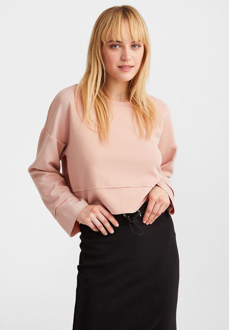 Pembe Kolları Yırtmaç Detaylı Crop Sweatshirt