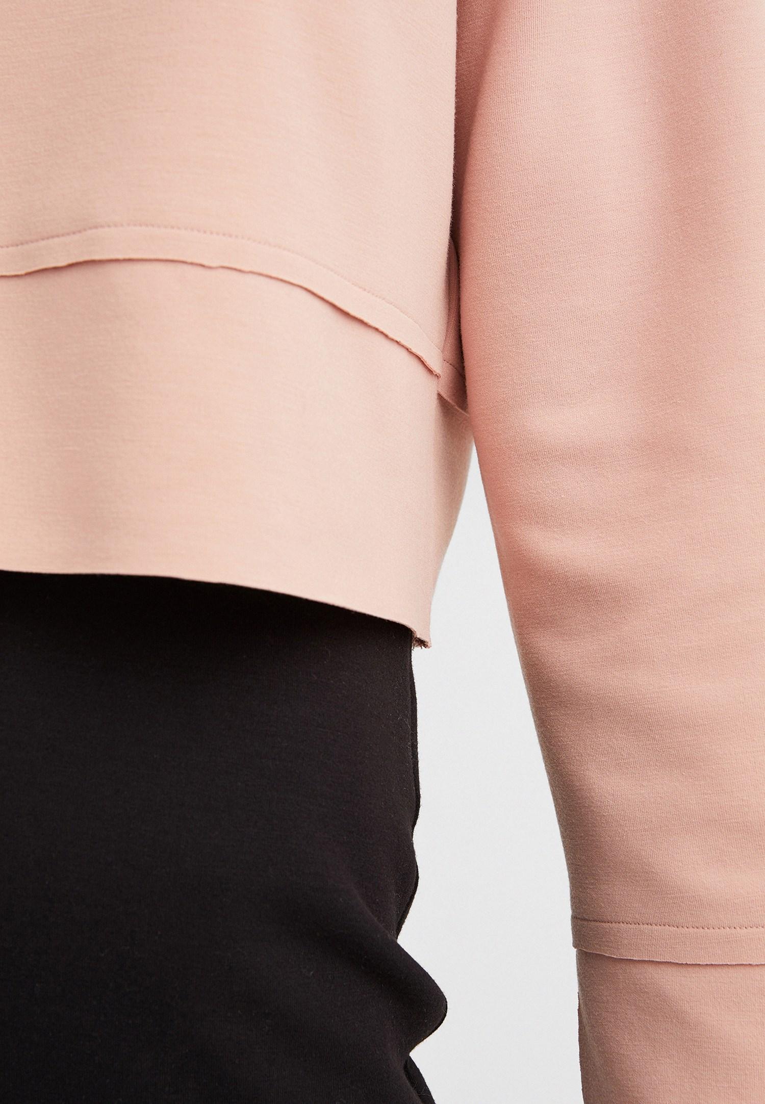 Bayan Pembe Kolları Yırtmaç Detaylı Crop Sweatshirt