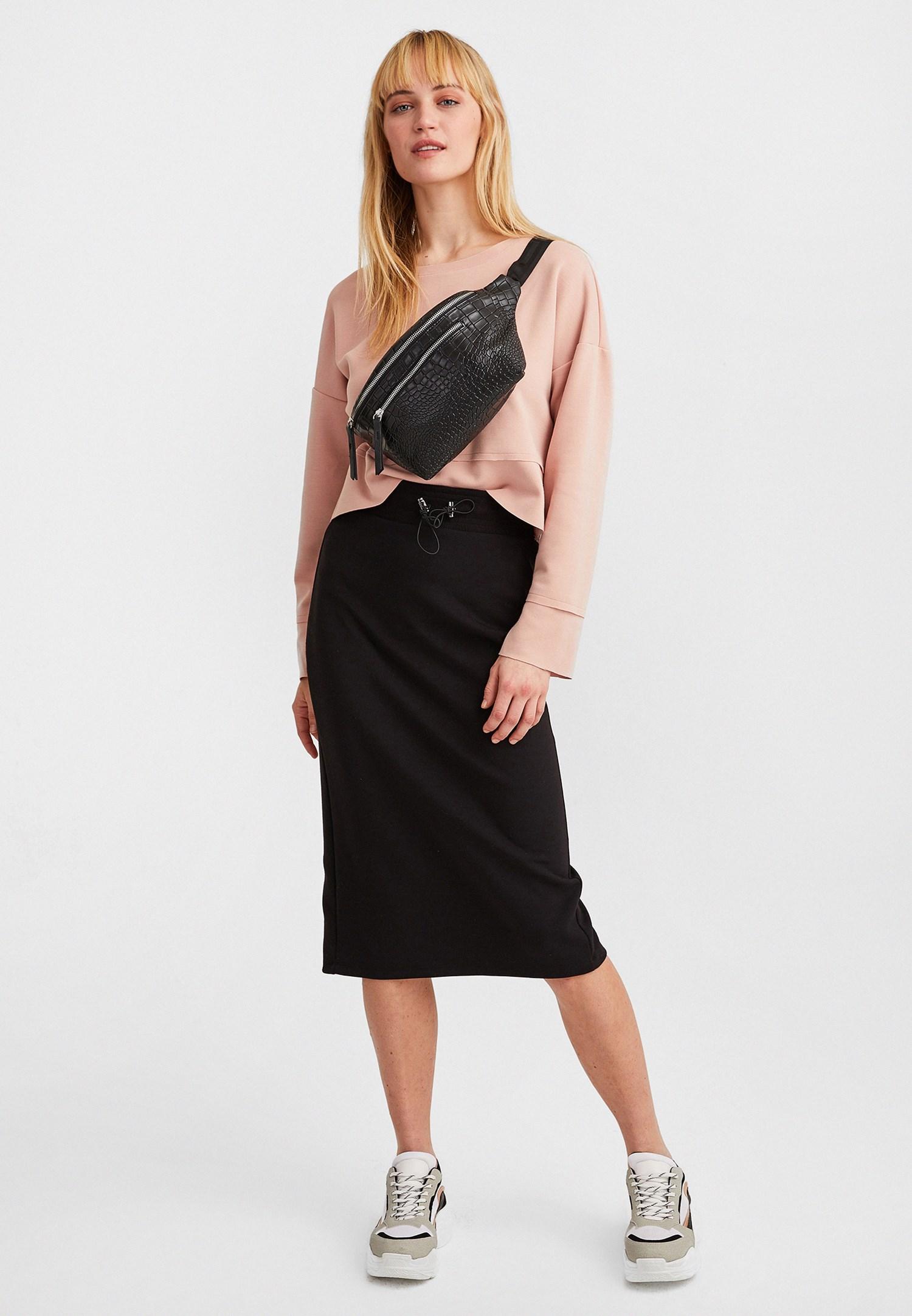 Women Pink Slit Sleeve Crop Sweatshirt
