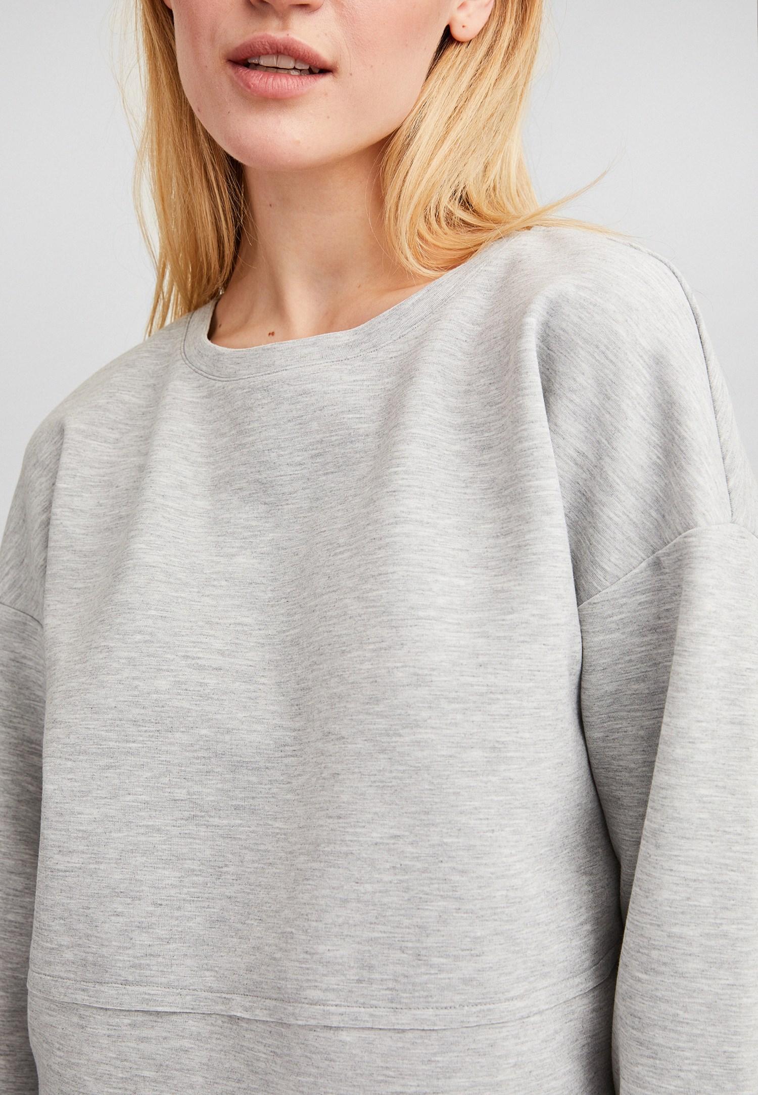 Bayan Gri Kolları Yırtmaç Detaylı Crop Sweatshirt