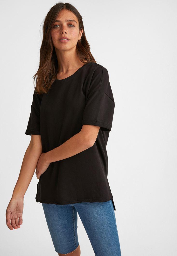 Siyah Sıfır Yaka Oversize Tişört