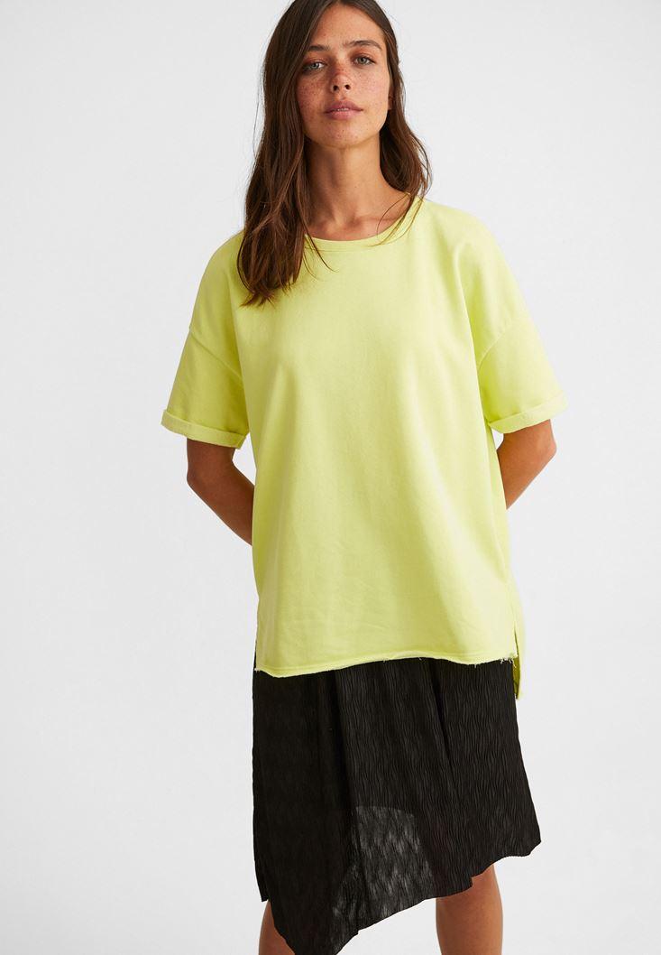 Sarı Sıfır Yaka Oversize Tişört