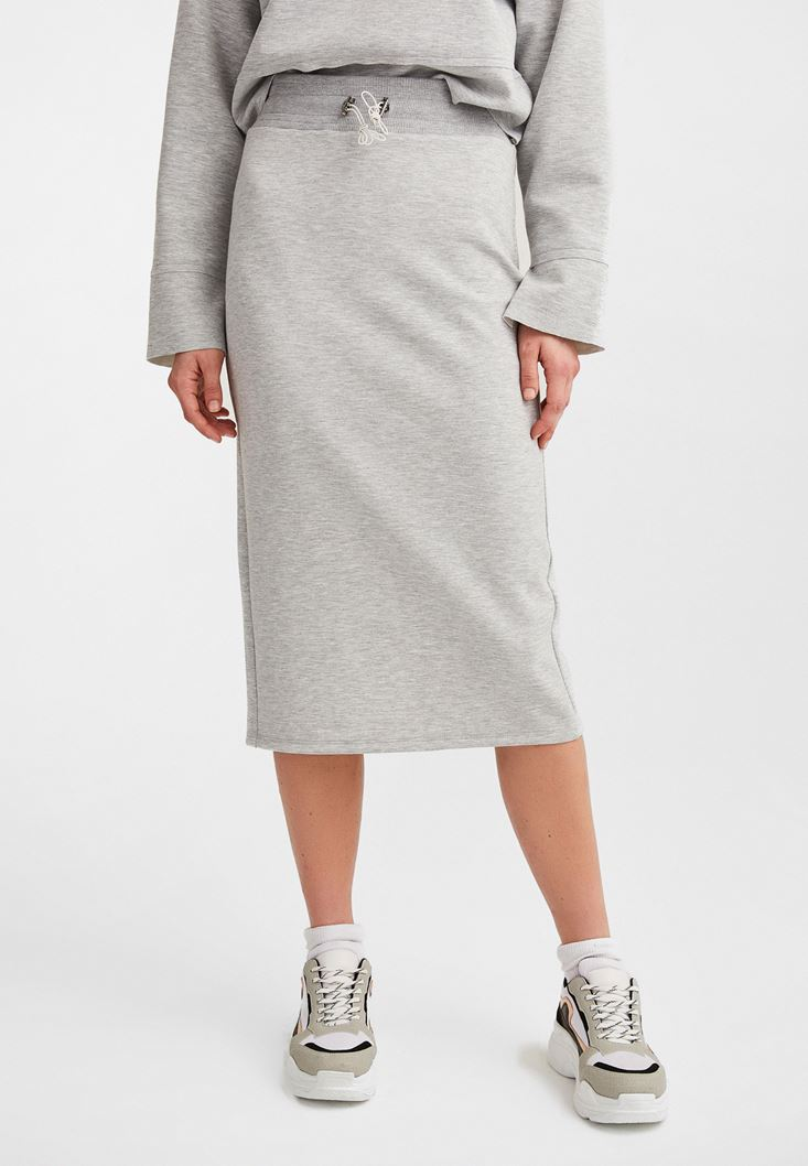 Grey Midi Slit Skirt