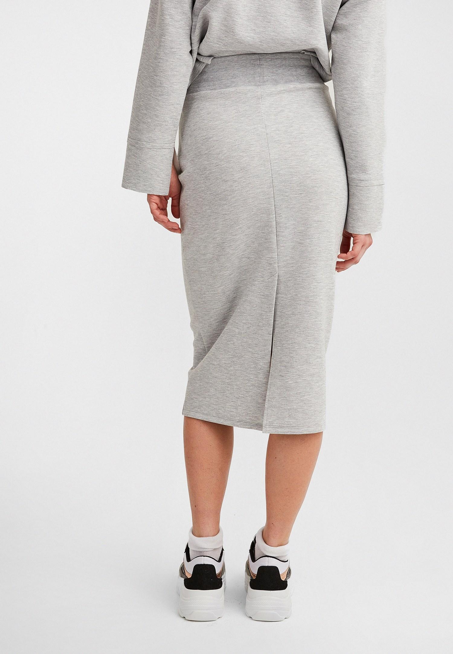 Women Grey Midi Slit Skirt