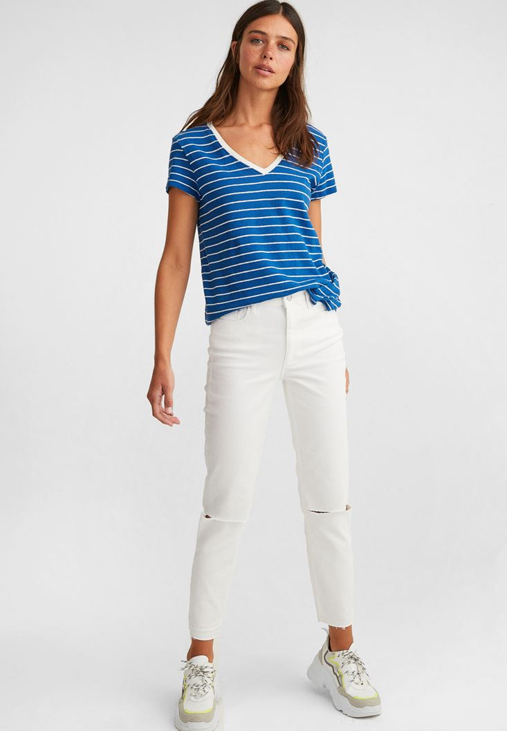White High-Rise Cigarette Jeans