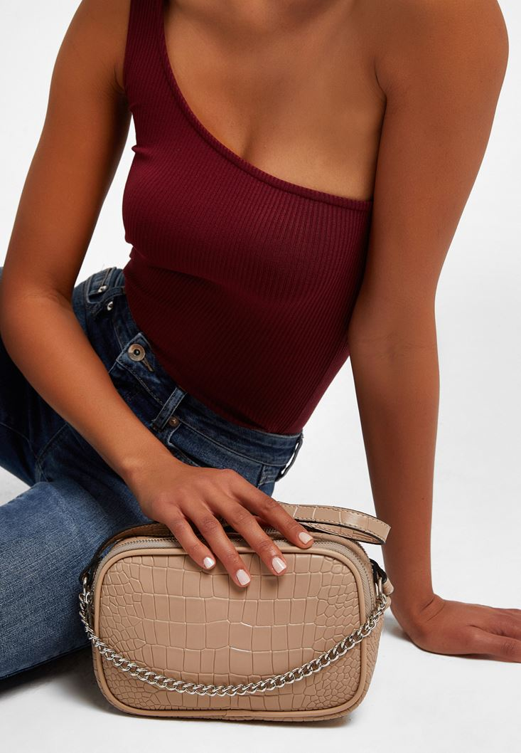Brown Chain Detailed Crossbody Bag