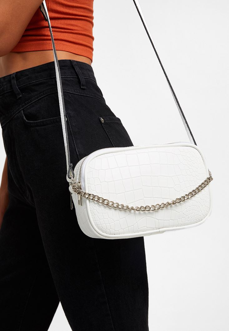 White Chain Detailed Crossbody Bag
