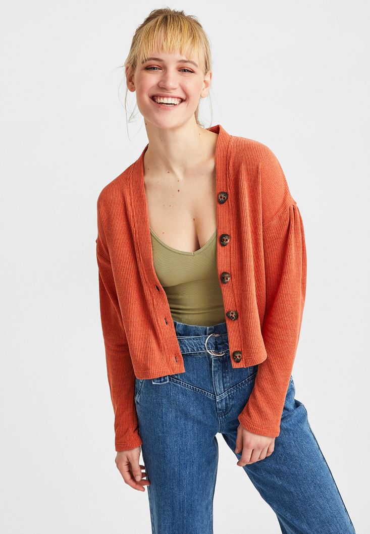 Orange Buttoned Cardigan
