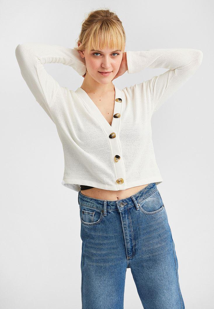Cream Buttoned Cardigan