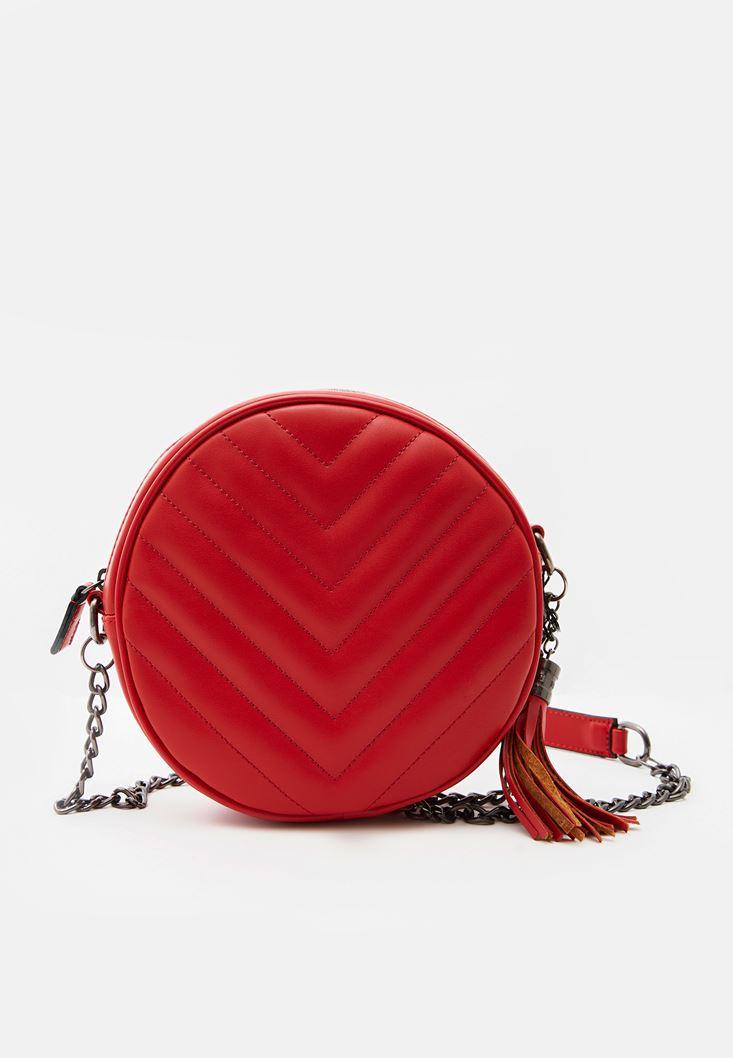 Kırmızı Püsküllü Askılı Çanta