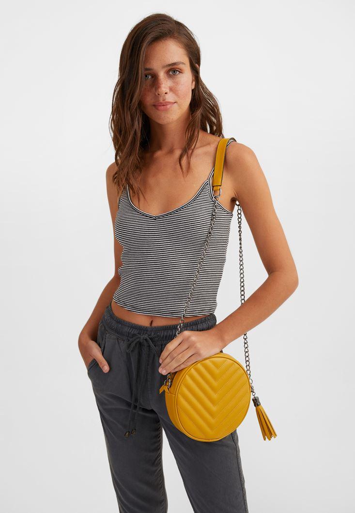 Yellow Mini Shoulder Bag with Fringe
