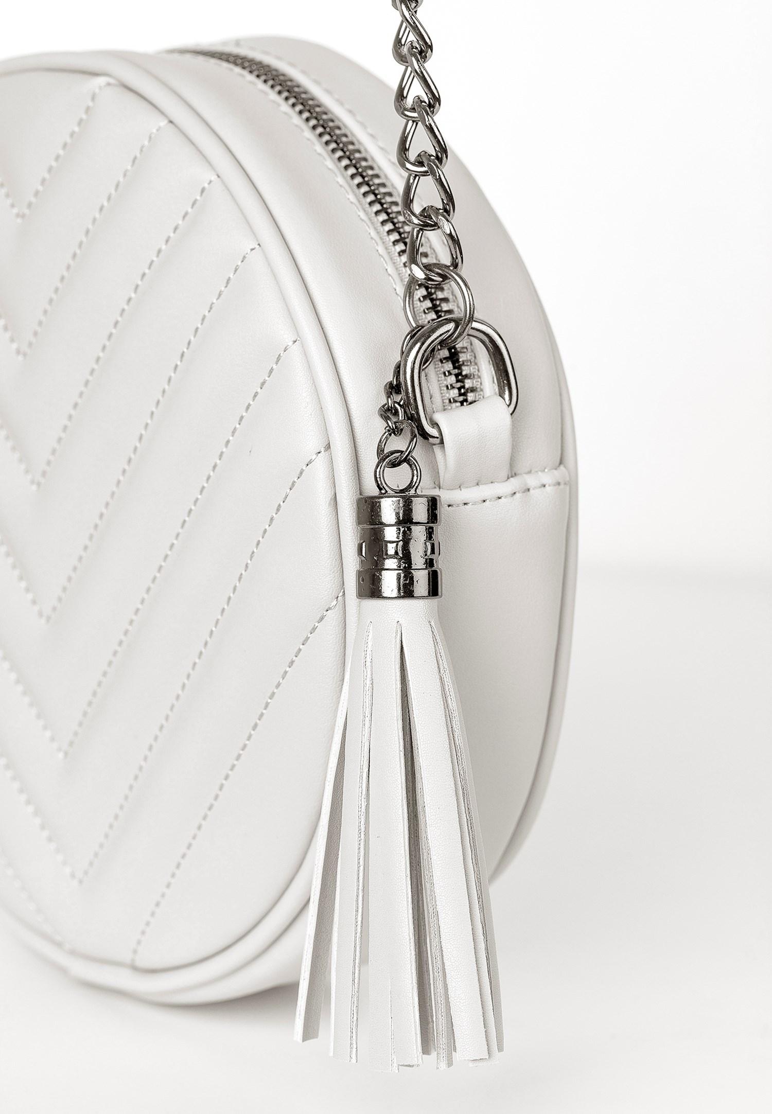 Bayan Beyaz Püsküllü Askılı Çanta